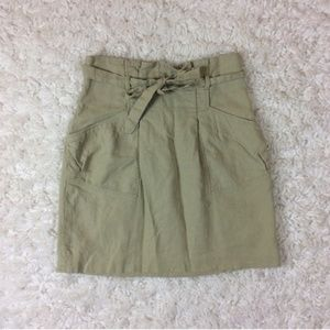 BCBGMaxAzria Paper Bag Skirt High Waisted Tan 2